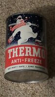 Original Vintage Thermo Anti-Freeze One Quart Motor Oil Can Metal Gas ~FULL~NOS~