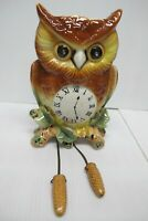 Vtg Owl Wall Pocket/Planter Clock~Ceramic~Pine Cone Weights~Not Marked~Japan