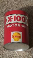 Original Vintage Shell X-100 One Quart Motor Oil Can Metal Gas Sign ~FULL~NOS~