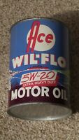 Original Ace Wil-Flo One Quart Motor Oil Can Metal Gas Sign FULL~NOS~MINTY