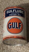 Original GULF One Quart Motor Oil Can Metal Gas Sign FULL~NOS~MINTY