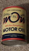 Original Waverly Oil Works One Quart Motor Oil Can Metal Gas Sign FULL~NOS~MINTY