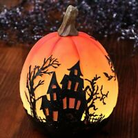 Haunted House Design Color Changing Lighted Halloween Pumpkin Decoration