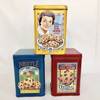 3 Nestle Toll House Cookie Collector Tins Chocolate Chip Yellow Red Blue Empty