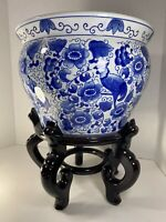 Blue & White Floral Porcelain Fish Bowl, Planter, Jardiniere Bombay Co Flawless