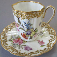Antique HP French Porcelain Cup Saucer FLOWERS GILT Scrolls Bourdois Bloch PARIS