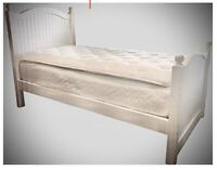 Pottery Barn Style Pinewood twin bed frame and mattress. Great Condition.