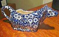 VINTAGE Royal Crownford Staffordshire Calico Ironstone Blue Cow Creamer England