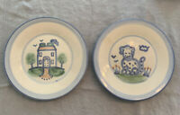 M. A. Hadley Pottery Plates Dog And House Design. Set of 2