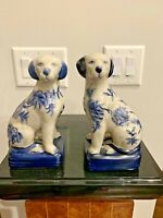Pair of Ironstone China Queen Victoria Spaniel Dogs Blue & White