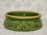 VINTAGE MCCOY POTTERY DOG FEEDING BOWL HUNTING DOGS RETRIEVERS GREEN 1935