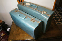 Vintage Blue Suitcases 1960s MCM Luggage Case 2 pc MATCHING SET Vtg Retro