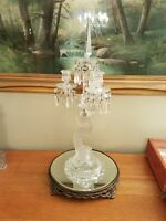 Antique Baccarat Crystal 3 Arm  Dolphin Candelabra French Centerpiece Complete