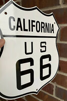 """Large 13"""" U.S. Route 66 California Highway Heavy Porcelain Oil Gas    Sign"""