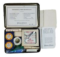 Vintage Johnson amp; Johnson First Aid Kit Some Original Items Collectible