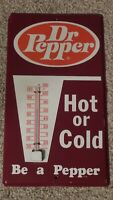 Vintage Dr. Pepper quot;Hot or Coldquot; Metal Advertising Thermometer Soda Pop Sign USA