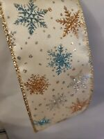 Holiday Charm Christmas Ribbon Glitter Snowflakes 2.5quot; x 25#x27; Wired New