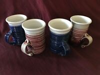 Set of 4 2 Deep Red amp; 2 Deep Blue Handcrafted Mugs from Archie Bray Workshop