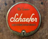 Vintage Schaefer Beer Sign TOC Button Tin over Cardboard Celluloid Breweriana