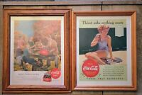9 pc Vintage Coca Cola Pictures1940 1956Life Magazine Framed. Excellent...