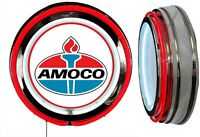 Amoco Oil Early Logo Sign Neon Sign Red Outside Neon Chrome Shell No Clock