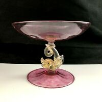 🟢 Venetian Art Glass Pink Gold DOLPHIN FISH 5quot; Compote Salviati Barovier Toso