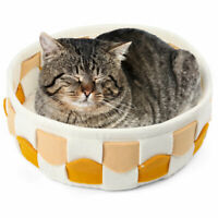 Warming Small Pet Bed For Cats Dogs Plush Soft Coral Fleece Sleeping Mat Round