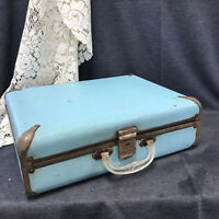 """Vintage Small Suitcase Carry On Overnight Bag Blue 16""""x12""""x6"""""""