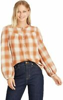 Women#x27;s Plaid Puff Long Sleeve Button Front Blouse Universal LG FT 101 $20.99