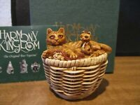 Harmony Kingdom Cat#x27;s Cradle Cat in Basket with Kittens UK Made Box Figurine #18 $79.00