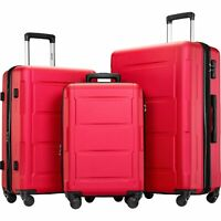 3 Piece 28quot; 24quot; 20quot; Suitcase TSA Lock Expanable Spinner Wheel Luggage Red AS