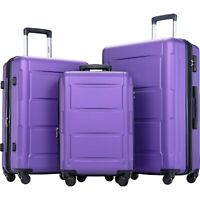 3 Piece 28quot; 24quot; 20quot; Suitcase TSA Lock Expanable Spinner Wheel Luggage Purple A