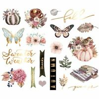Prima Hello Pink Autumn Collection Chipboard Stickers With Foil Accents 654269