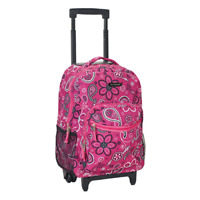 Kids Rolling Backpack Girls Roller School Bag Student Luggage Book Bags 17 Inch
