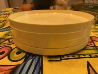 Vintage Set Of 4 Heller Massimo Vignelli Stackable Plate Yellow 1 Plate Cracked