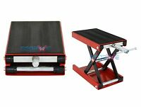 Red 1100 LB Wide Deck Scissor Lift Jack Stand Motorcycle Center Hoist Bikes ATVs
