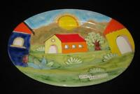Palermo Colorful Italian Art Pottery Oval Serving Platter NINO PARRUCCA, 16