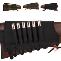 Ammo Rifle Cartridge Buttstock Holder Leather Stock Cover 12 16 Ga 7.62 cal