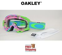 OAKLEY® O-FRAME® XS YOUTH KIDS GOGGLES MX ATV MOTOCROSS DIRT VOLTAGE PINK GREEN