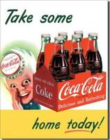 Coca Cola 6 Pack Bottles Coke Take Some Home Today Nostalgic Tin Metal Sign