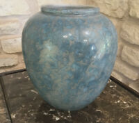 Vintage STEULER Blue Mottled Vase West German Pottery