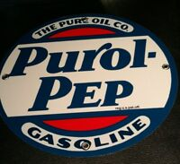 Pure Purol Pep Gas Oil gasoline sign .. FREE shipping on any 8 signs