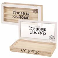 Wooden 4 Section Coffee Box 32 Nespresso Capsule Storage Container Glass Lid