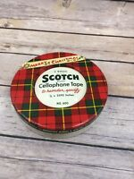 Vintage Scotch Cellophane Tape NO. 600  2 Roll Tin with Tape Merry Christmas