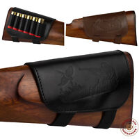 Leather Buttstock Ammo Holder Shotgun Shell Cover 12 20 Gauge