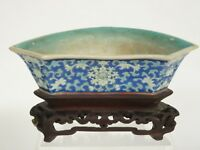 ANTIQUE 19c. QING CHINESE ENAMELLED PORCELAIN JARDINIERE PLANTER VASE WOOD BASE