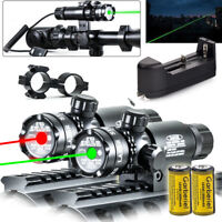 Tactical Green Red Laser Sight Rifle Dot Scope+ Switch + Rail+ Barrel Mounts USA