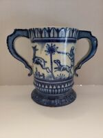 English Delft tin-glazed Vessel with Handles Bull and Deer Hunt