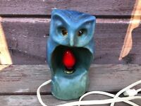 Rare VAN BRIGGLE Pottery OWL Child's Night Light Lamp Blue Old