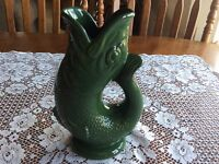 Vintage Dartmouth Devon Green Gurgling Fish Jug Pitcher Vase 7